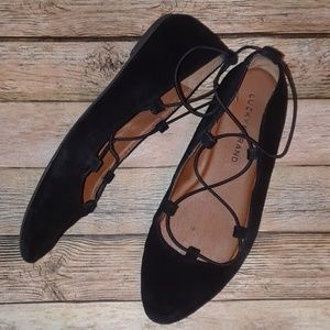 Lucky Brand Eaviee Black Suede Laced Ballet Flats